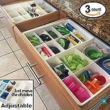 Divisores de Gavetas Ajustables de Uncluttered Designs para almacenamiento y organización de Gavetas de Utilidad en Cocina (Paquete de 3)