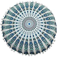 Yolmook pillowcase,Indian Mandala Floor Pillows Round Bohemian Cushion Pillows Cover Case Cushions (G,43 * 43cm)
