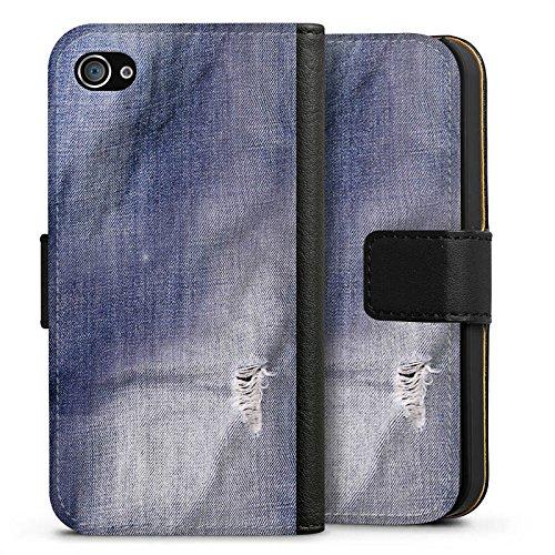 Apple iPhone SE Tasche Hülle Flip Case Grau Jeans Farben Look Muster Sideflip Tasche schwarz