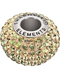 Grand Trou Perles de Verre a enfiler de Swarovski Elements 'BeCharmed Pave' 14.0mm (Crystal Luminous Green, Acier affiné), 12 Pièces