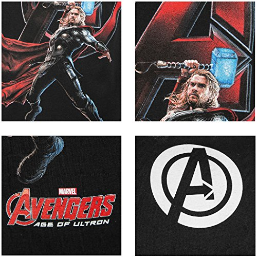 "Offizielles ""Marvel Avengers 2 Age of Ultron""-T-Shirt, ""Attack"", mit Logo - Thor Attack - Black"