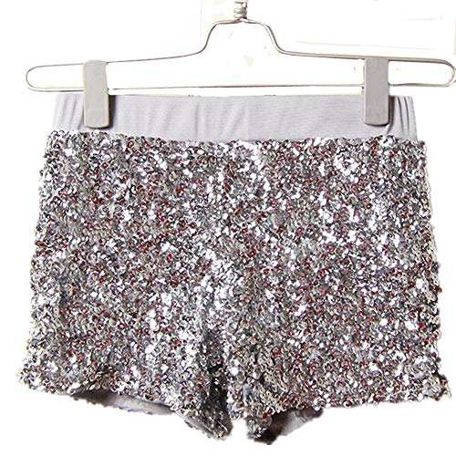 Tanz Aus China Kostüm - DOTBUY Hot Pants Sexy Damen Pailletten Party Nacht Club Hohe Taille Sexy Kurz Hosen Club Tanz Kostüm Yoga Lounge Laufen Joggen. (Silber)