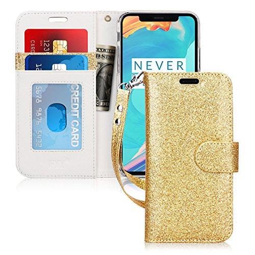 fyy iPhone X Case, [RFID-blockierender Wallet Case] Handgefertigt Flip Folio Tasche [Kickstand Funktion] mit ID und Kreditkarte Displayschutzfolie für Apple iPhone X Edition (2017), BD-Bling-Gold