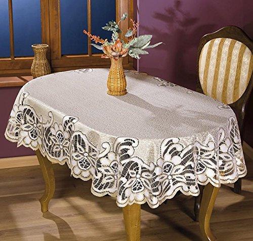 MforStyle - Tischdecke mit schwerer Spitze, Creme-/Gold-/Beigefarben, Oval, qualitativ hochwertig