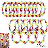 BigLion 20 Stück Hawaiian Silk Blumenketten Hibiscus Leis Halskette Hawaiikette für Strand Luau Tropische Thema Party Lieferungen Dekorationen