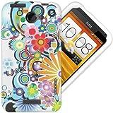 Etui de créateur pour HTC One X - Etui / Coque / Housse de protection blanc en TPU/gel/silicone avec motif floral jaune/bleu/violet