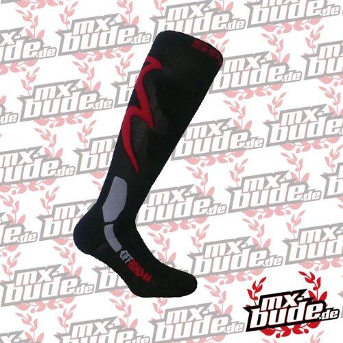 SPRING Motocross / MTB Socken - TOURING SUMMER schwarz-rot: Größe Socken: 35-38