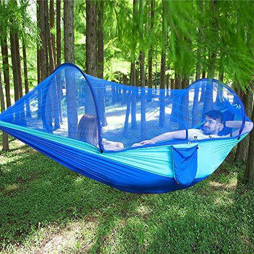 ZXCVBW2019 Parachute Automatic Quick Opening Hängematte Outdoor Camp MoskitonetzDefense Moskito Bring Swing Chair 2 Personen, Blau