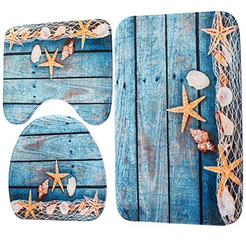 Demiawaking set 3 pezzi tappetino da bagno tappetino wc antiscivolo di stile oceano tappeto decorazione per toilette bagno (01)