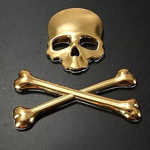 Goliton® Astra Depot Dach Fender Hood 3D Schädel Dämon Knochen Abzeichen Emblem Metall Auto Aufkleber (Emblema Del Metallo)