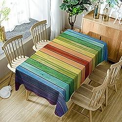 GuDoQi Rayas del arco iris Mantel Cubierta de tabla Rectángulo Tela de poliéster Tamaño clasificado Para Cocina Comedor Sobremesa Decoración