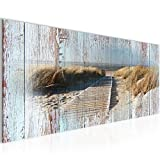 Bilder Strand Meer Wandbild 100 x 40 cm Vlies - Leinwand Bild XXL Format Wandbilder Wohnzimmer Wohnung Deko Kunstdrucke Blau 1 Teilig -100% MADE IN GERMANY - Fertig zum Aufhängen 604012b