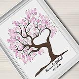 GAG Hochzeitsbaum Fingerabdruck:Fingerprint Unterschrift Leinwand Malerei rosa Baum Hochzeit Geschenk Hochzeit Dekoration (Include12Ink Farbe), 30 * 40cm