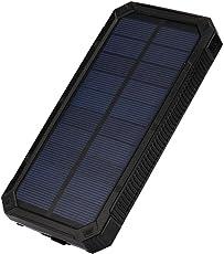 Happy Event Tragbare Externe 20000mAh Dual USB Solar Akku Ladegerät Power Bank für Telefon (Schwarz)