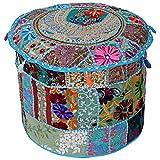 Stylo Kultur Baumwoll Patchwork gestickte Hocker Ottoman Abdeckung Türkis Floral Ottoman Möbel