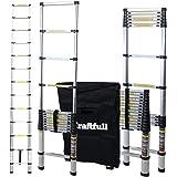 Craftfull Aluminum SOFT CLOSE Teleskopleiter inkl. Tragetasche - in 2/2,6/2,9/3,2/3,8/4,1/4,4 Meter - Mehrzweckleiter - Stehleiter - Aluminiumleiter - Leiter - Schiebeleiter - Aluleiter (4.4 Meter)