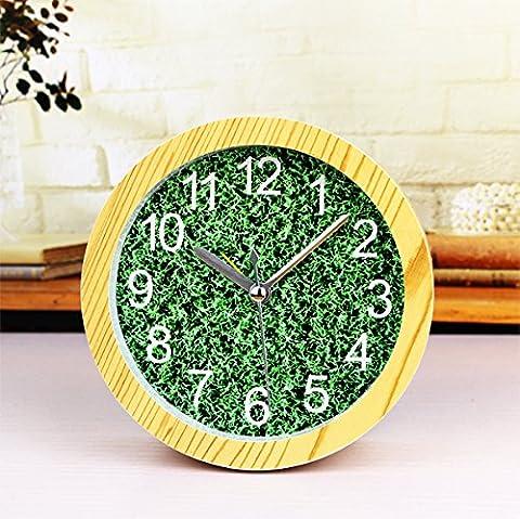 Green grass log Holzfarbe Kleine Wecker grün Tischuhr Durchmesser 12cm