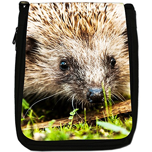 Prickly Hedgehog-Borsa a tracolla in tela, colore: nero, taglia: M Nero (Hedgehog Face)