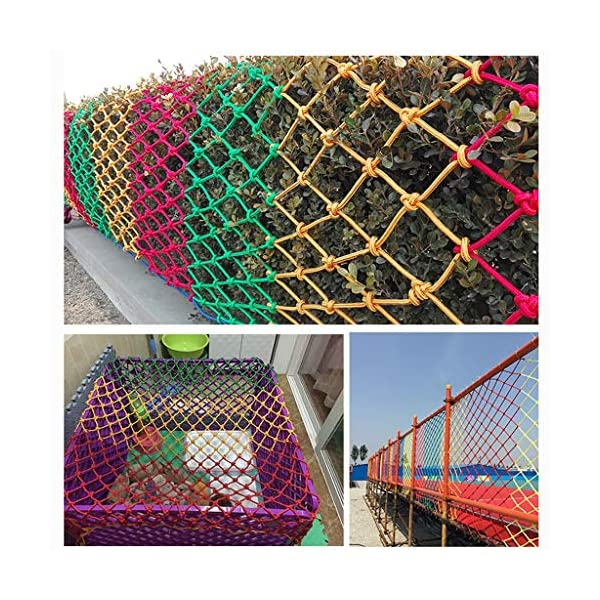 WLnet Child Safety Anti-fall Net, Color Balcony Loft, Stair Railing Protection Net Hand-woven Traditional Structure Nylon Rope Net Mesh 10mm * 6cm (Size: 2 * 3m) (Size : 4 * 9M)  [Anti-fall net preferred material] select high quality nylon material, healthy and environmentally friendly, strong and tough, durable [Anti-fall net double buckle weaving] hand knotted, not easy to off the line, beautiful and strong, [Anti-fall net surrounding rope] has a separate side rope design on four sides, solid fixed, wear-resistant, stable support net 8