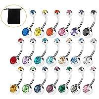 Amaza 20pcs piercing ombelico acciaio chirurgico sexy body piercing 14 Gauge (Multicolore)