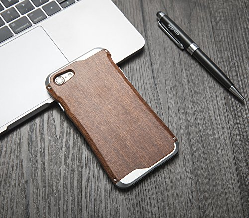 eimolife iPhone 7 Aluminium Case Metall Cover mit Natürlichen Holz Zurück Holzhülle für iPhone 7 4,7-Zoll- Rosenholz & Grau Aluminum Sapele