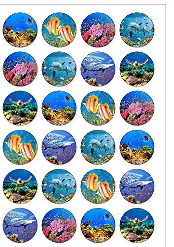 24 vorgeschnittene Runde Unterwasser tropischen Korallenriff Fisch Themenparty essbare Wafer Papier Kuchen Topper von Top dass (Fisch Toppers Kuchen)