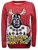 """H&F Girls® Damen, Herren, Unisex Weihnachtspullover, Krieg-der-Sterne-Aufdruck, """"Come over to the Merry Side"""" (Schriftzug in englischer Sprache), mit Schneeflockenmotiv. Gr. XX-Large (20/22 UK), Red Star War"""