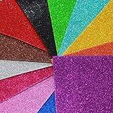 Kraftz, adesivi glitterati in schiuma EVA, 10 fogli A4 in colori assortiti