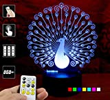 Lampees 3D Illusion Peacock LED Lamp wit...