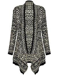 MIXLOT Damen Wasserfall-poncho Damen winter Strick Pullover/Strickjacke, Aztekenmuster mit Streifen Stone print wear casual