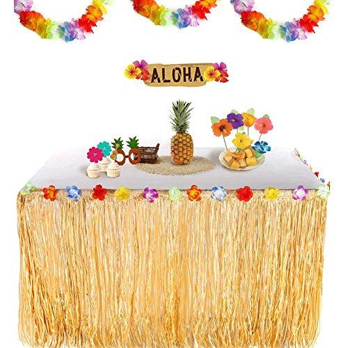 Hawaii Luau Tischröcke Gras Tischrock Party Tischdecke Tisch Rock Tischdeko für BBQ Garten Strand Sommer Tiki Party Geburtstag Dekoration/Gelb/Grün