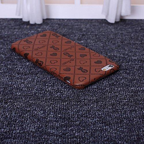 Wkae neue zeichentrick - katze und herz bunte deisgn ultra slim flexible pu - soft - schutzhülle deckung für das iphone 6 65 plus DIEBELLEU ( Color : Beige , Size : IPhone 6S 6 ) Braun