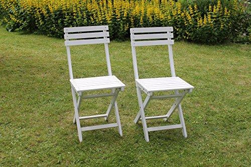 2er Set BISTRO Klappstuhl für Garten, Terrasse und Balkon FSC® 100% Eukalyptusholz - weiß gewischt