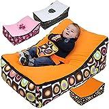 Monsieur Bébé ® Transat Pouf Bébé + 2 Assises + 2 Poches de rangement + Poignée de transport – Modèle Baby Pouf - Trois coloris - Norme NF EN12790