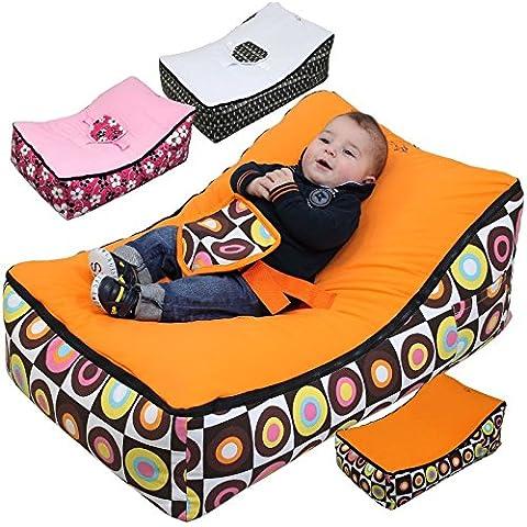 Monsieur Bébé ® Hamaca Puf para bebé + 2 asientos + 2 bolsillos de almacenamiento + Asa de transporte - Modelo Baby Pouf – Tres colores - Norma NF EN12790