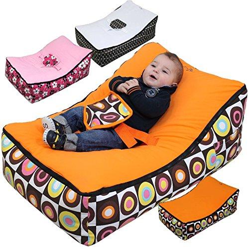 Monsieur Bébé  Transat Pouf Bébé + 2 Assises + 2 Poches de rangement + Poignée de transport – Modèle Baby Pouf - Trois...