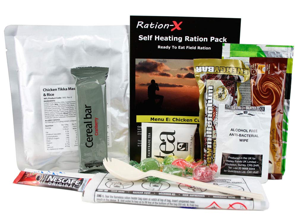 Self Heating Field Ration Pack Ready To Eat Meal Menu E 1