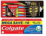 #7: Colgate Strong Teeth Toothpaste - 200 g with 100 g and Zig Zag Medium Toothbrush (Pack of 5, Black)