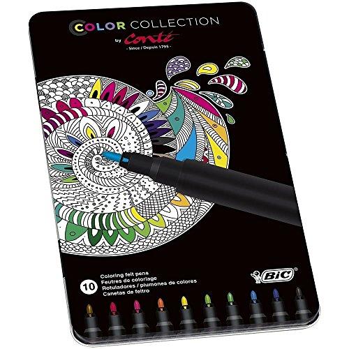 BIC Conté - Metal box of 24 colored pencils