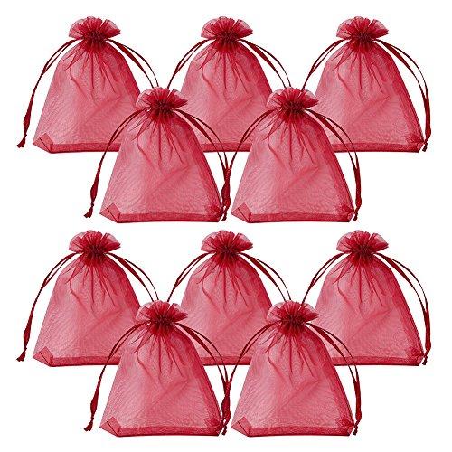 �PCS Weiß Organza Kordelzug Geschenkbeutel Wrap Favor Tasche für Party Hochzeit 10,2x 7,6cm, Organza, Dark Red-4, 4.7x3,5''(12x9cm) ()