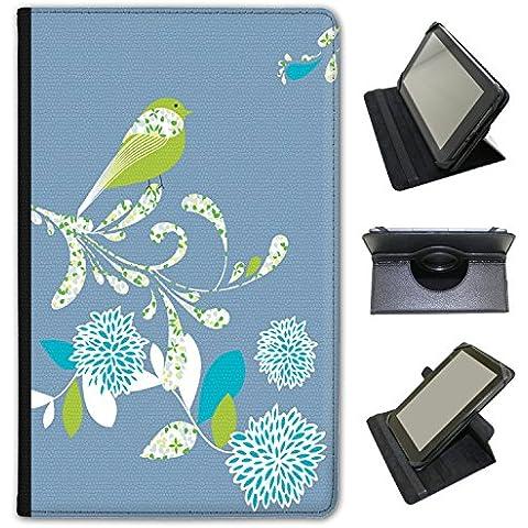 Elegante (piel sintética, función atril), diseño de flores de pájaros sobre para Bush Tablets negro azul (Denim Blue) Bush Spira B1 10 inch