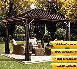 Aluminium Pavillon Überdachung Gazebo Dakota // 244x244 cm (BxH) // Sommer-Pavillon und Gartenlaube mit Hard-Top Dach von Sojag