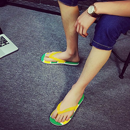les hommes de l'air en tongs, mélange cool pantoufles, pieds pincée, chaussures de plage, les pantoufles Yellow