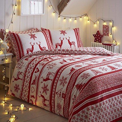 Tony's textiles - set copripiumino - fantasia norvegese con renne - rosso/bianco - king size
