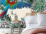 Yosot Benutzerdefinierte Kinder Zimmer Wand 3D Tapete Handgemalten Tropischen Regenwald Pflanze Papagei Hintergrund Wandbild Wandbilder-140cmx100cm