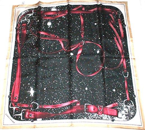 longchamp-seidentuch-89-x-89cm-mit-reitmotiv-schwarz-rot-scarve