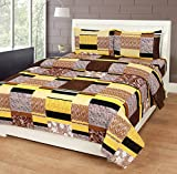 Home Elite Dynamic 120 TC Cotton Double Bedsheet with 2 Pillow Covers - Floral,Mustard