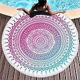 Rundes Strandtuch zum Sonnenbaden, tragbare Picknickdecke, Yogamatte, Tischdecke, Sporttuch, Badetuch mit Quaste, A2, 150 × 150 cm