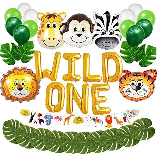Wild EIN erster Geburtstag Ballon Dekoration Kit, 1. Boy Girl Theme Bday Party Banner Dekoration Set (Dekorationen Bday 1.)