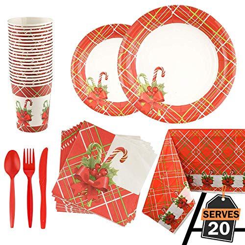 Kompanion Set Servizio da Tavola 141 Pezzi per Feste di Natale con Piatti, Tazze, Cucchiaio e Forchetta, Coltelli, Tovaglioli, Tovaglie
